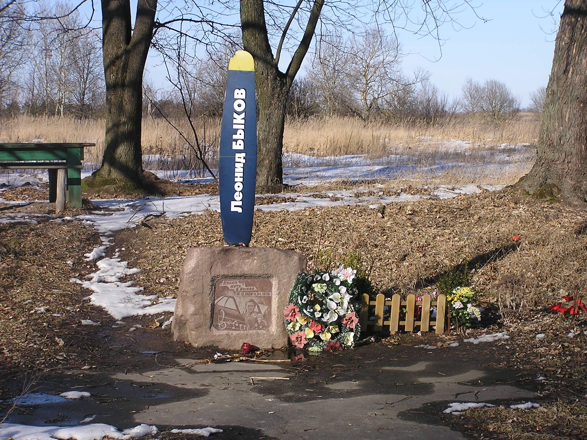 Рисунок 1. На месте аварии возле поселка Дымер, где погиб Леонид Быков, установили памятник