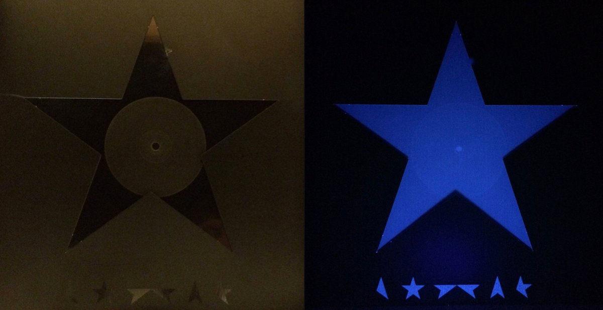 Рисунок 3. Обложка виниловой пластинки «Blackstar» под светом обычной лампы и ультрафиолетовой.