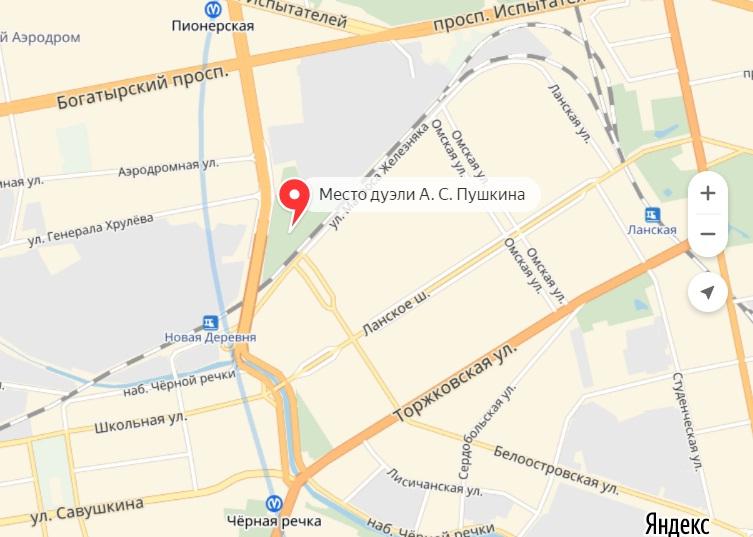 Рисунок 3. Место дуэли на карте города